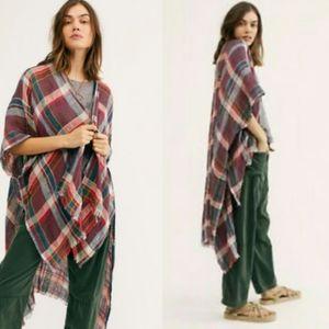 NWT Free People Reverie Plaid Kimono